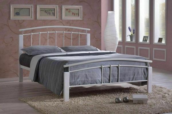Bialea Tetras Silver white bed frame